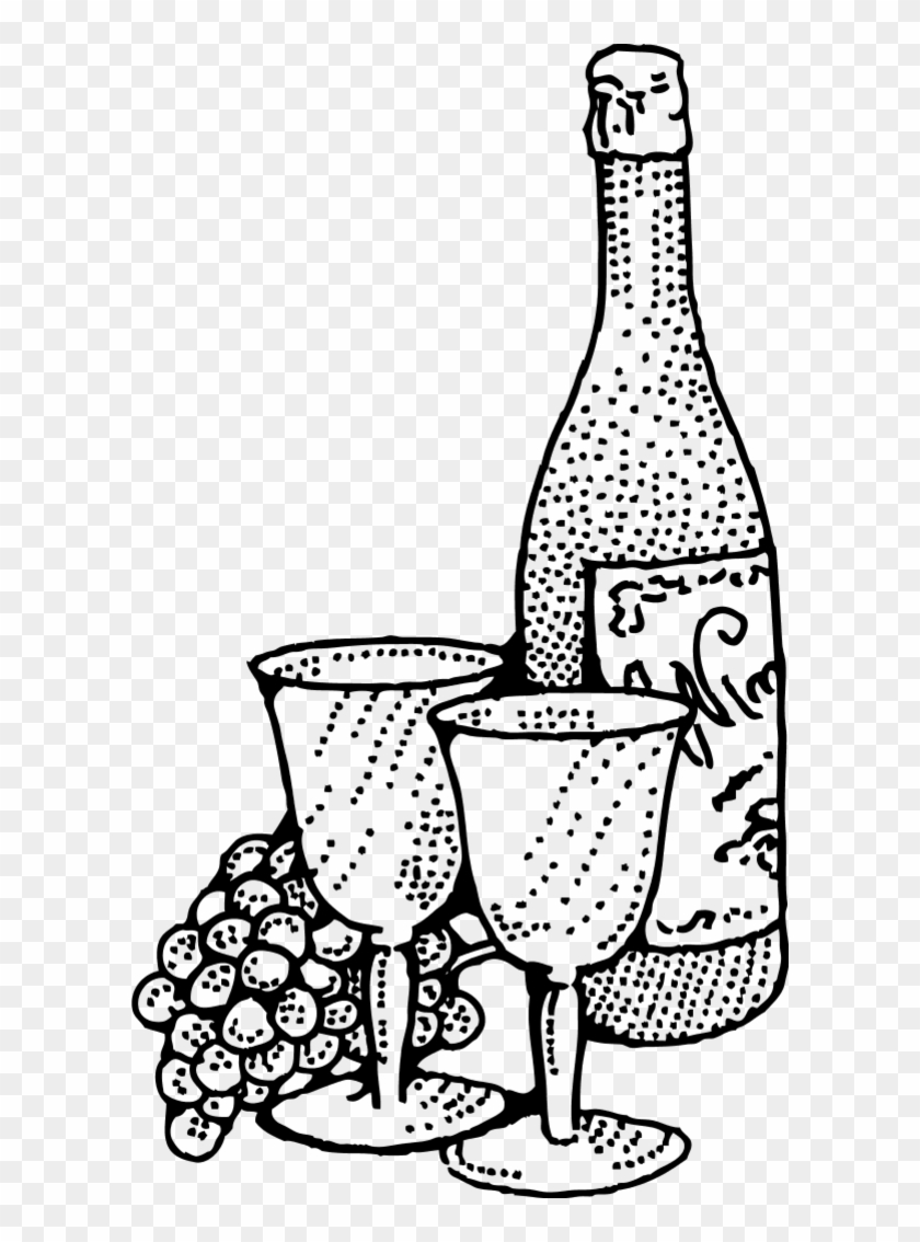 Wine Bottle And Two Glass Cups Vector Clip Art - Wine Clip Art #102810