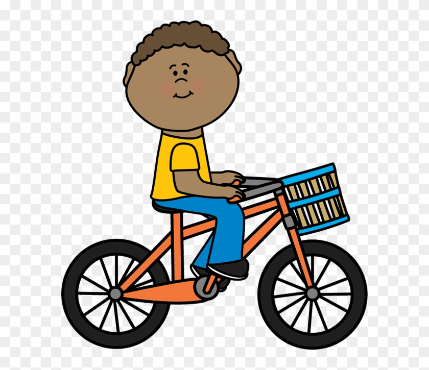 Boy Riding A Bicycle With A Basket - Ride Bike Clip Art #102815