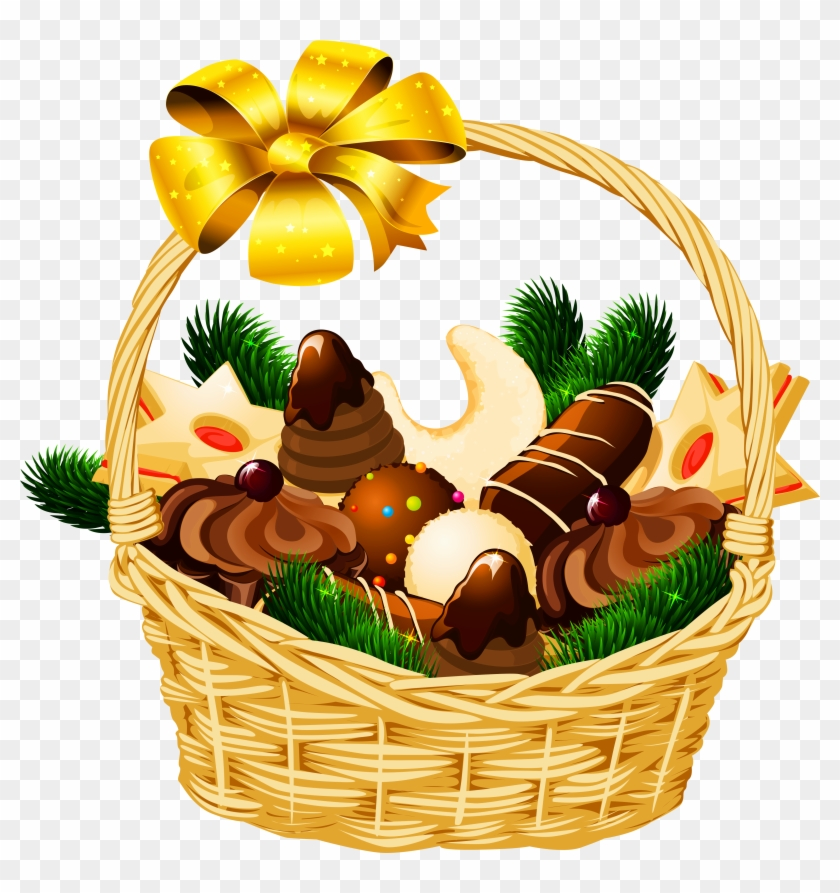 Basket Clipart Christmas Hamper - Christmas Basket Clipart #102830