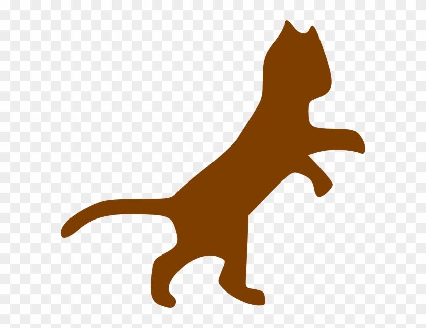 Brown Dancing Cat Svg Clip Arts 600 X 567 Px - Cat Clip Art #102832