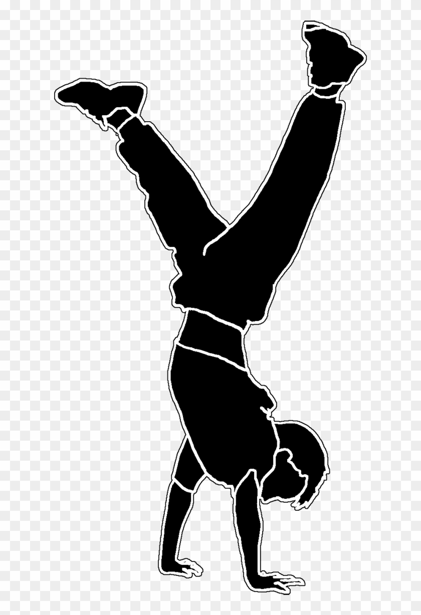 Boy Doing Handstand Silhouette White Line - Child #102886