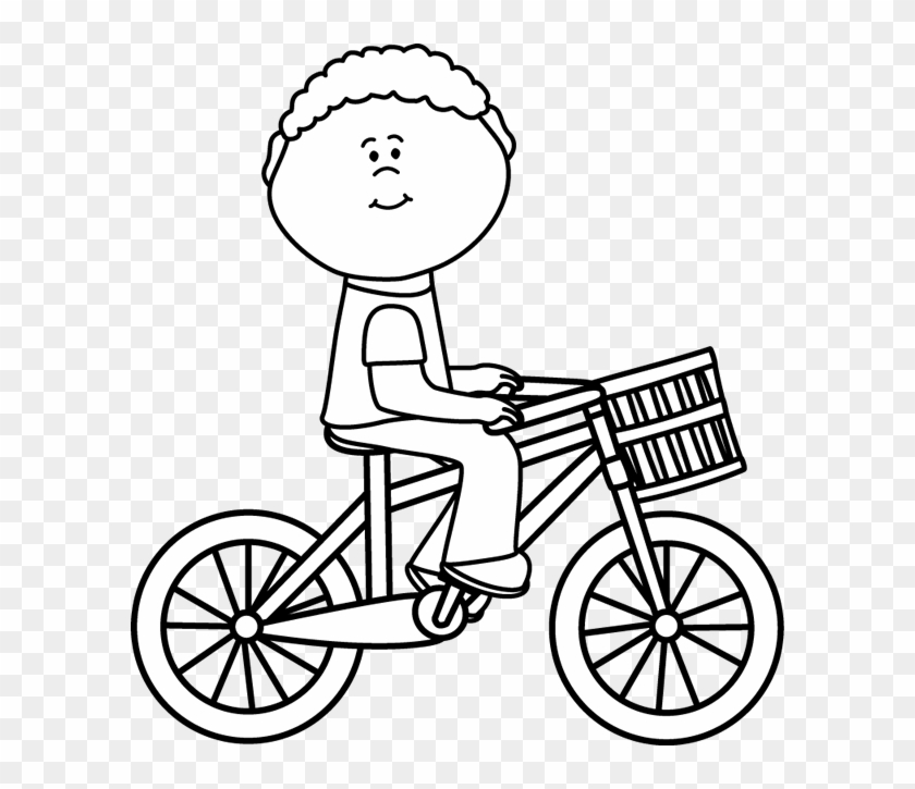 Black & White Boy Riding A Bicycle With A Basket - Bike Clipart Black And White #102896