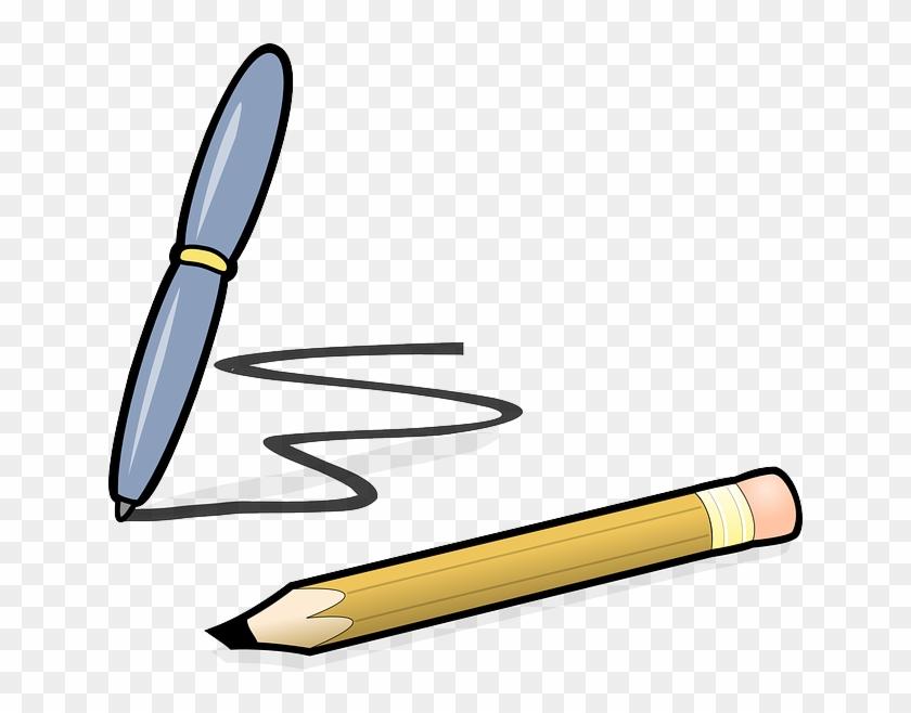Draft Pen, Pencil, Biro, Office, Writing, Scribble, - Pen And Pencil Clipart #549442