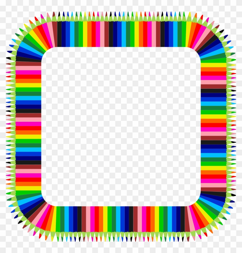 Colorful Pencils Frame 3 Icons Png - Colored Pencil Frame Png #550842