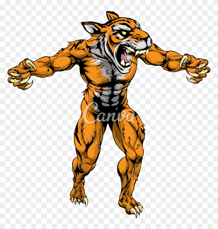 Tiger Scary Sports Mascot - Lion Head With Human Body #551851