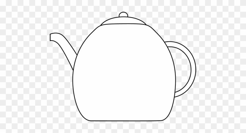 Black And White Kettle - Black And White Tea Pot Clip Art #554420