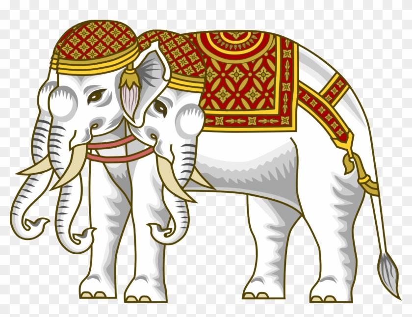 The Airavata , Vehicle Of The Hindu God Indra, Depicted - White Elephant Six Tusks #554611