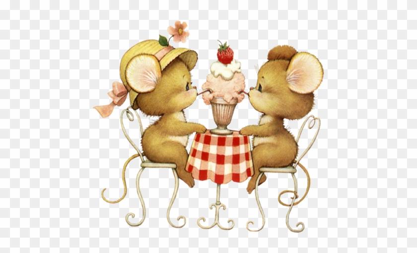 Mice Sharing A Ice Cream Float - Mice Ruth Morehead #555038
