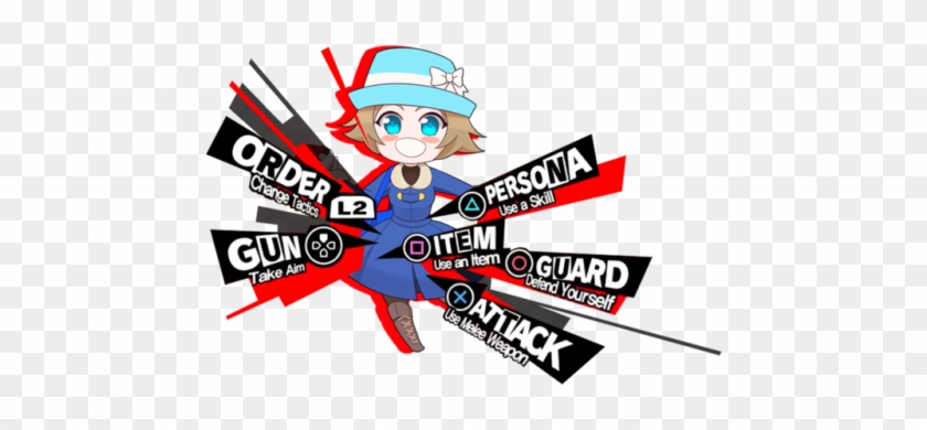 Pokémon Trainer From X And Y, In The Persona 5 Attack - Persona 5 Battle Menu Png #557382