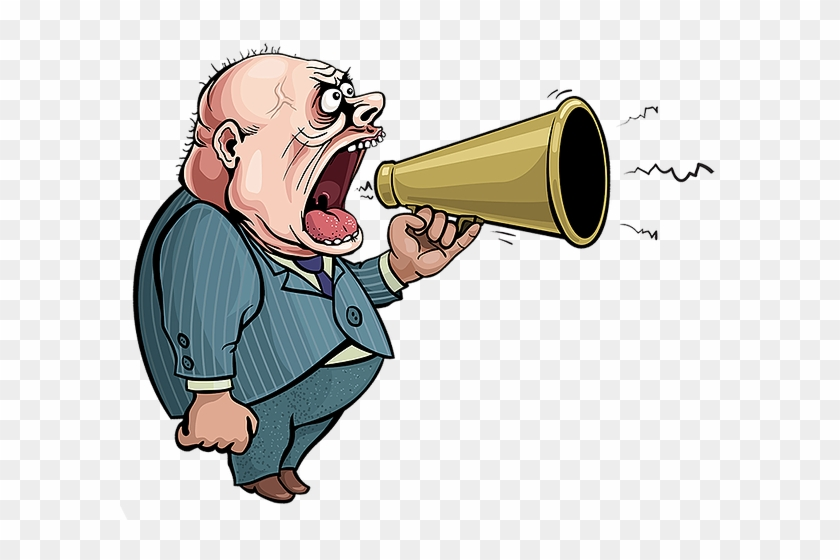 The On-hold Guy Message Service Is A Whole New Concept - Shout With Megaphone Cartoon #557543