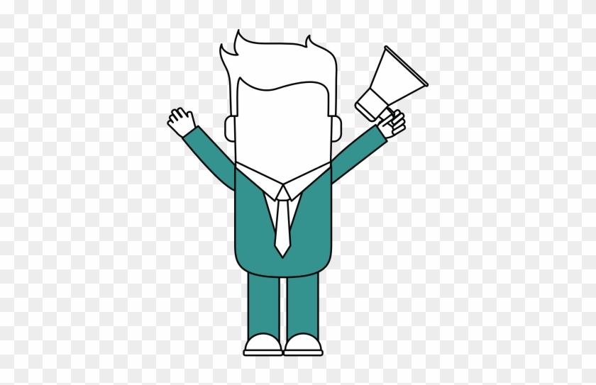 Man With Megaphone Vector Illustration - Illustration #557546