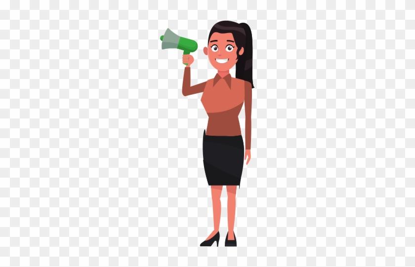 Woman Promoter Holding Megaphone Advertising - Ballot #557559