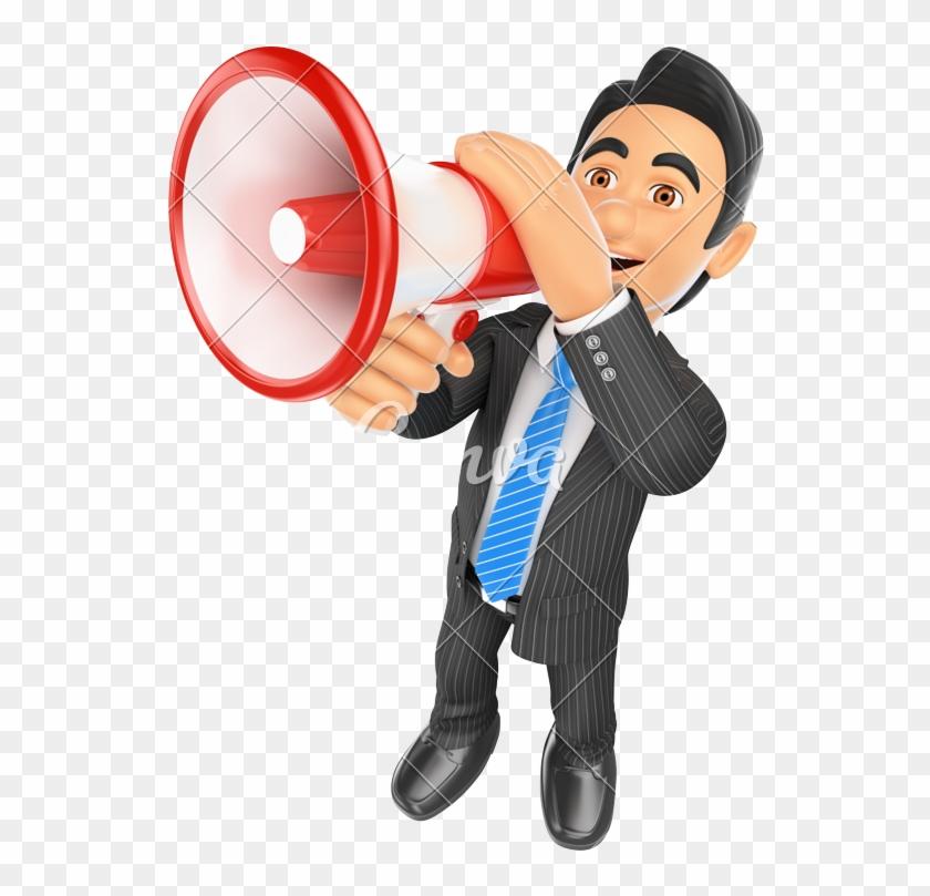 3d Businessman Talking Through A Megaphone - Hablar Por Un Megáfono #557562
