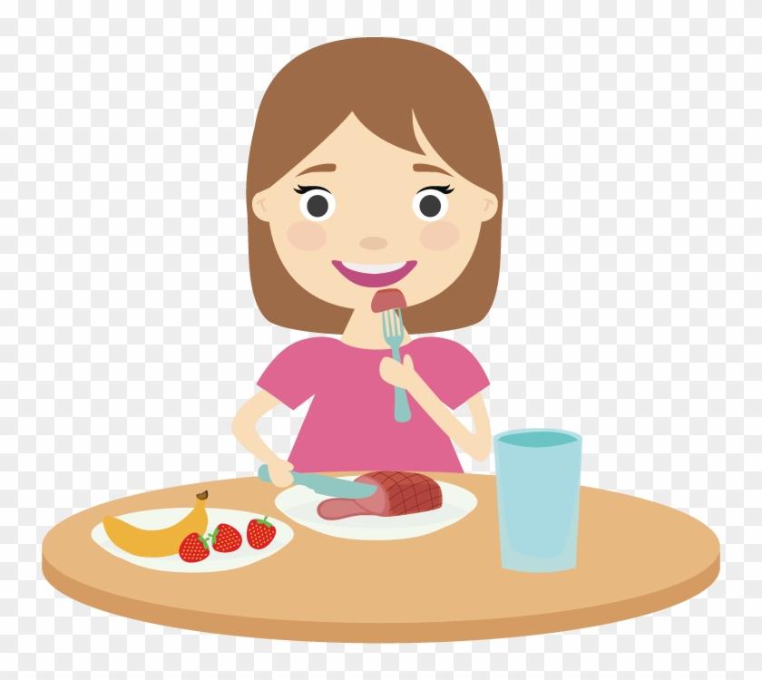 Breakfast Intuitive Eating Food Lunch - Girl Eating Breakfast Cartoon #557752