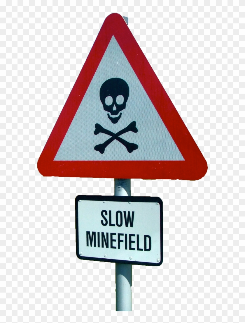 Minefield Sign - Cafepress Skull N Bones Throw Pillow #557818