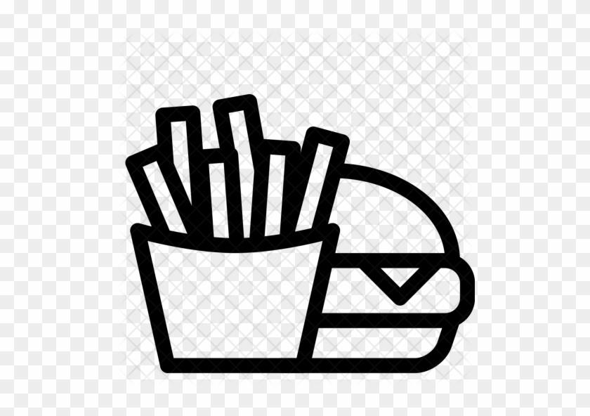 Food, Fast, Burger, Fries, Chips, Hamburger Icon - Burger And Fries Drawing #558031