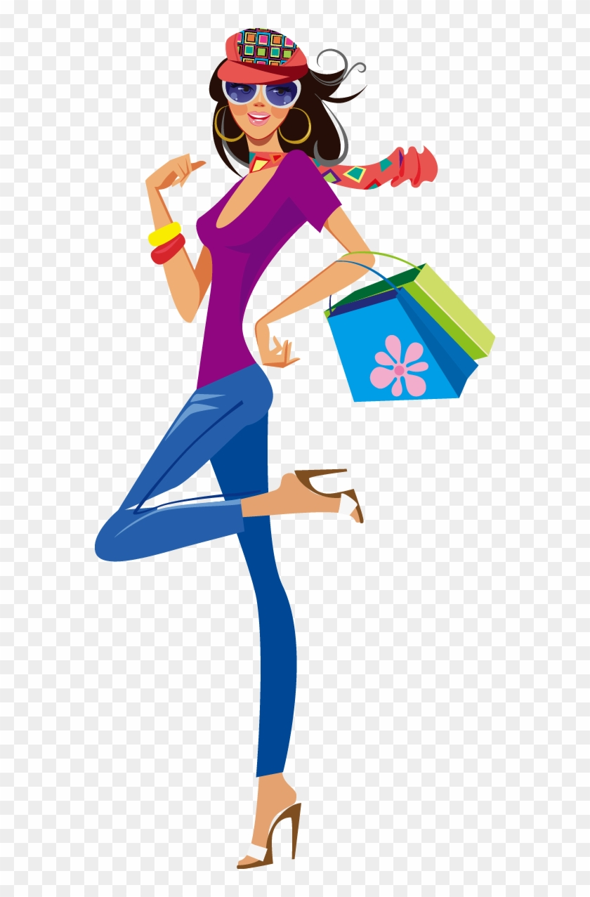 Shopping Clothing Illustration - Cute Shopping Girl Png #561645