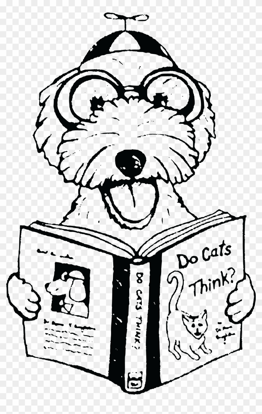 free clipart of a dog reading a book about cats - dog reading a book