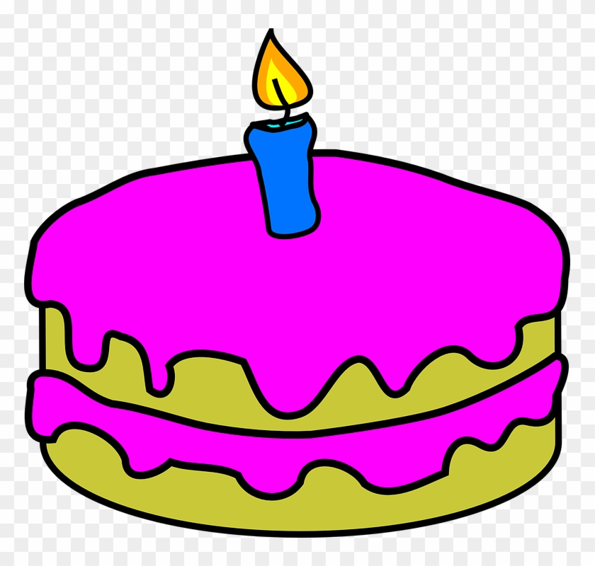 Vanilla Cake Cliparts 10, Buy Clip Art - Birthday Cake With 1 Candle #564177