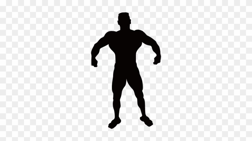 Vitruvian Man Silhouette Muscle Clip Art - Fit Man Silhouette Vector #564841