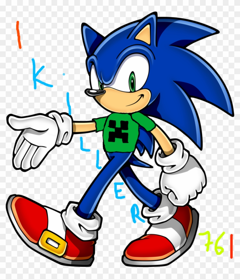 Sonic The Hedgehog With Creeper T Shirt By Tailsthefox76 Sonic The Hedgehog Characters Free Transparent Png Clipart Images Download