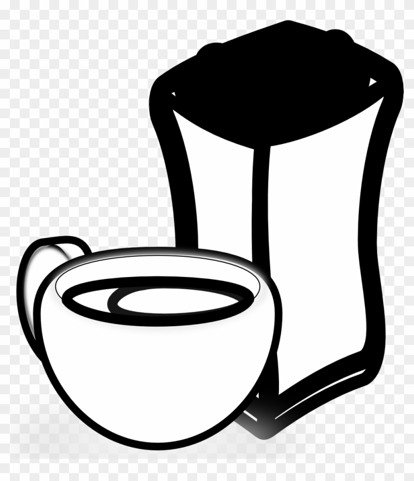 » Clip Art » Cup Of Coffee With Sack Of Coffee - Coffee Bean #566942