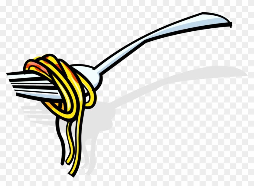 vector illustration of italian spaghetti pasta on fork