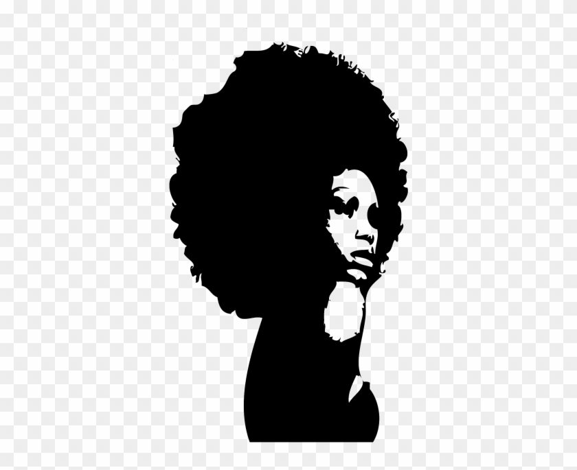 Afro Hair Png Transparent Image - Black Woman Silhouette Png #567017