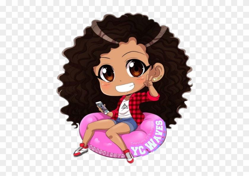 Black Anime Girl With Curly Hair Free Transparent Png Clipart