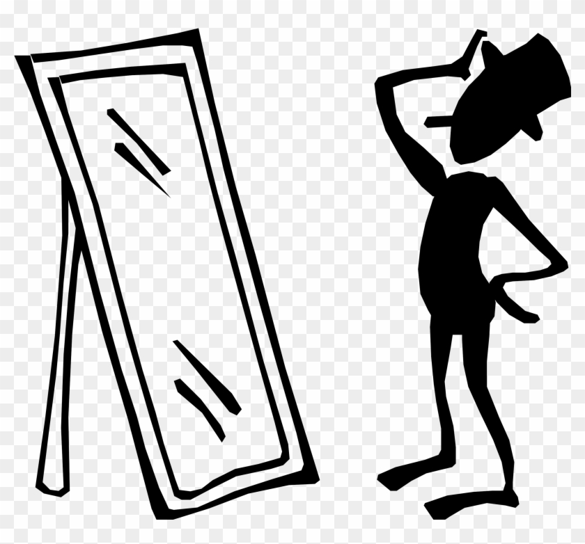 Man - Looking In Mirror Clipart #569811