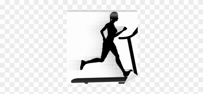 Woman Running On A Treadmill With Halftone Motion Trail - Man Running On A Treadmill #571227