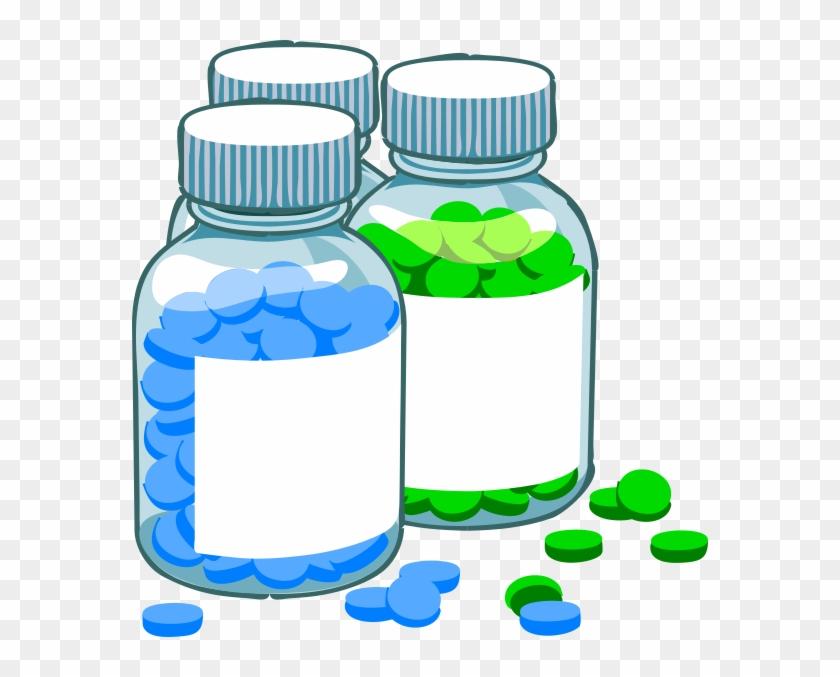 Blue And Green Pill Bottles Clip Art At Clker - Treatment Clipart #571308