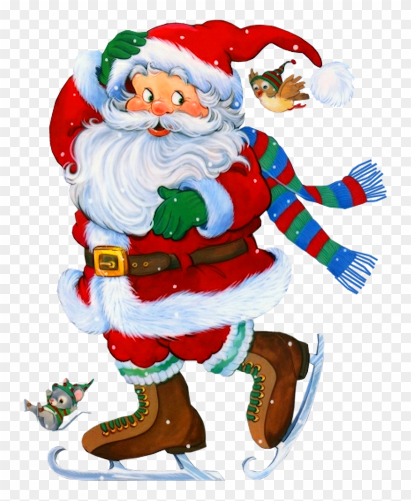 Christmas Clip Art Ice Skating - Transparent Santa #571666