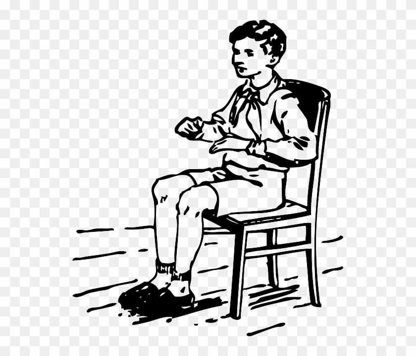 Unfortunately The Prank Went Wrong, And The Boy Who - Sitting Clip Art Black And White #571676