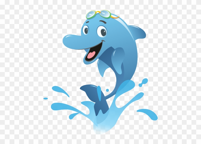 Free Whale Clipart Black And White - Cartoon Swimming With Dolphins #572209