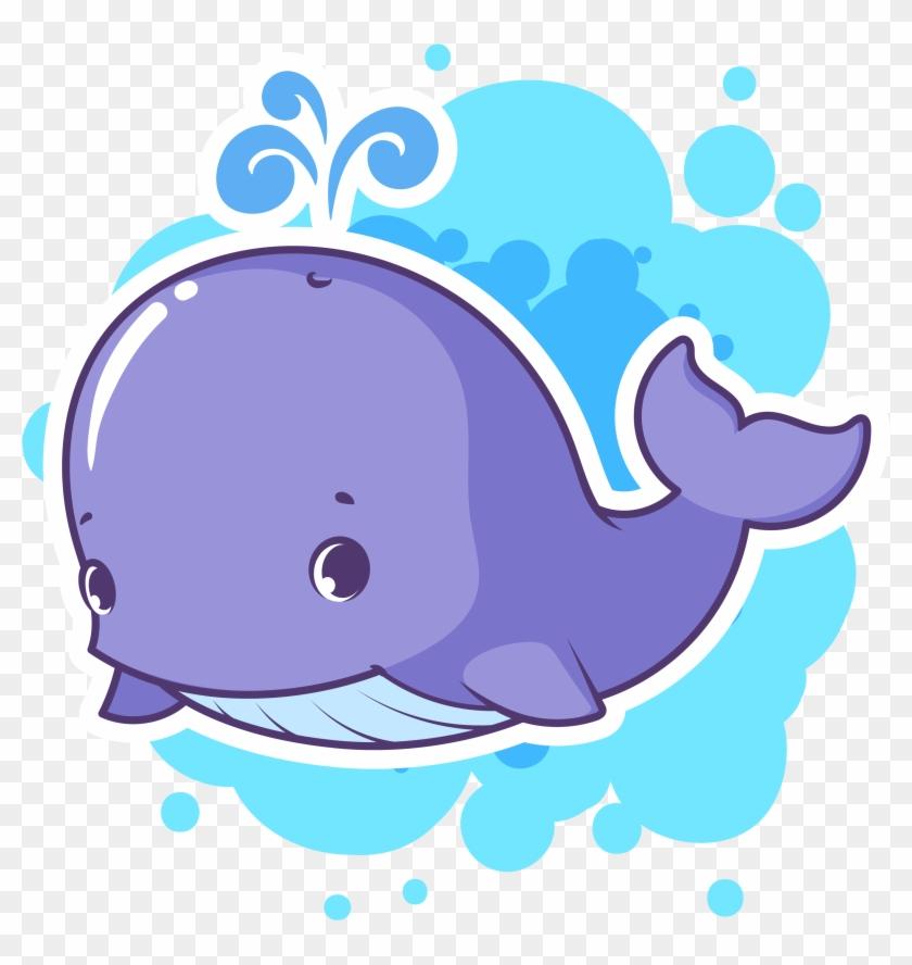 Dolphin Whale Cartoon Clip Art - Purple Cartoon Whale #572226