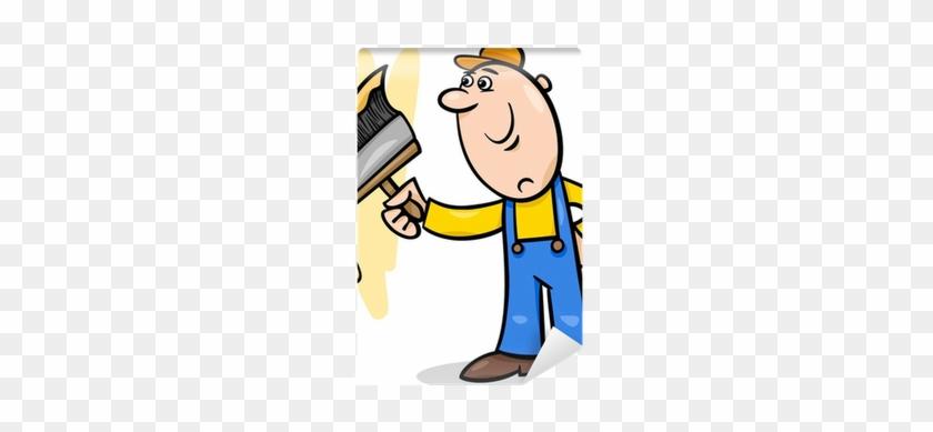 Carta Da Parati Lavoratore Con Pennello Cartoon Illustrazione - Man Painting Wall Clipart #572467