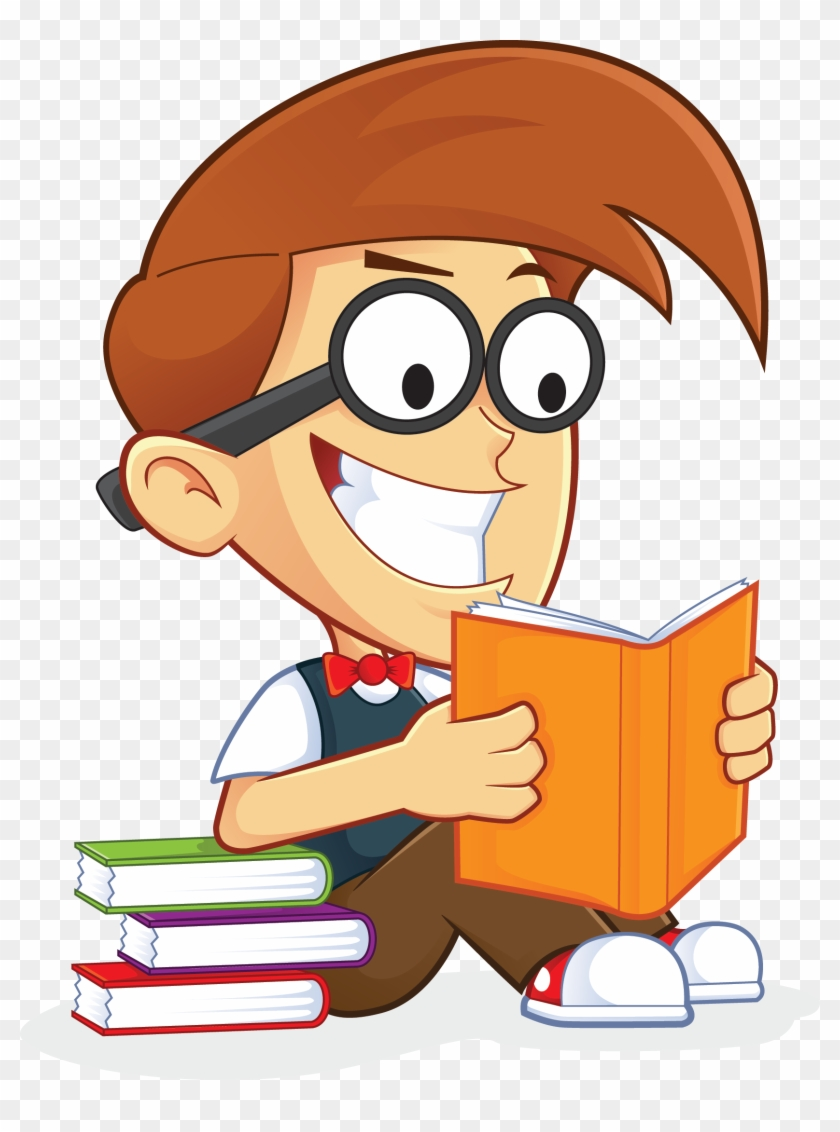 Free Nerd Geek Reading Book People High Resolution - People Reading Books Clipart #574155