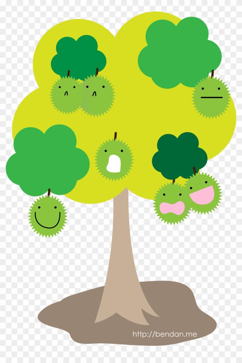 Fruit Tree Cartoon Durian Peach - Durian Tree Art - Free