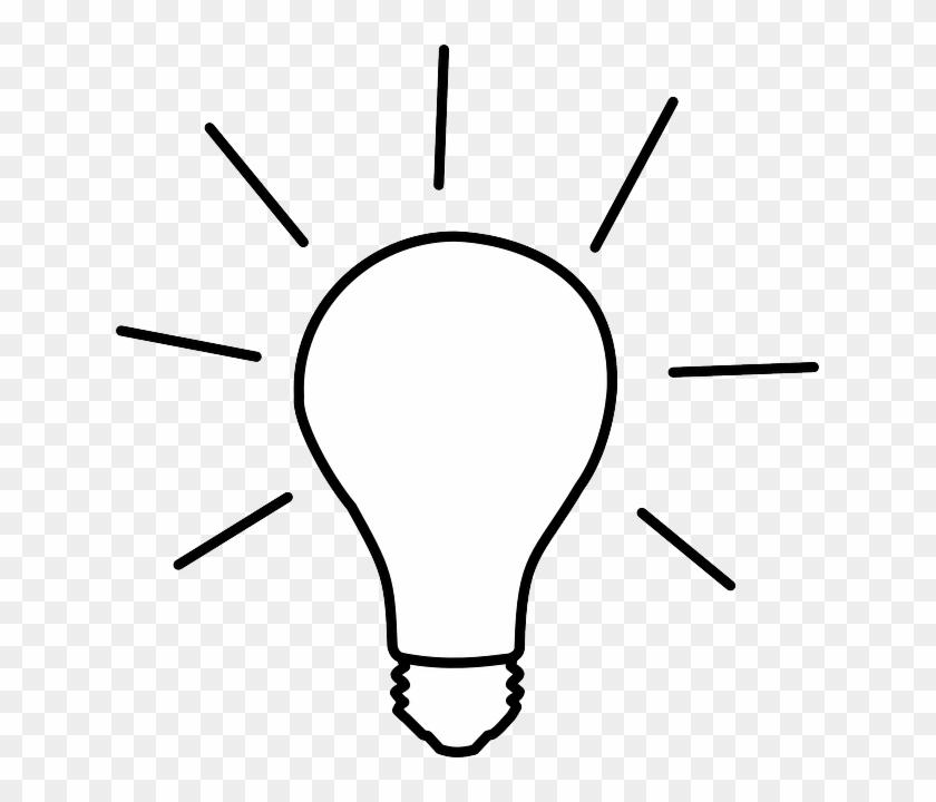 Light, Light Bulb, Electric Bulb, Lamp, Bulb - Cartoon Black And White Light Bulb #575933