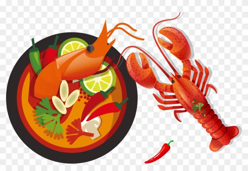Cuisine Illustration thai cuisine green papaya salad food illustration - lobster food