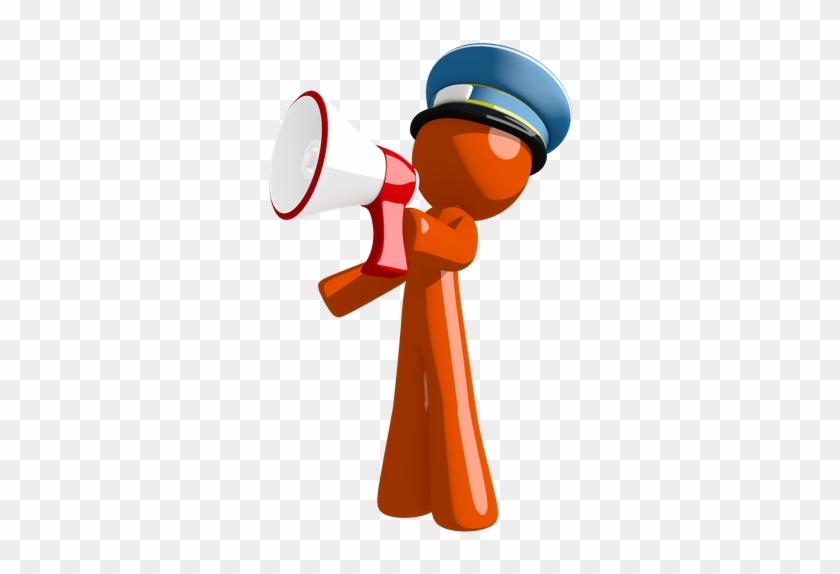 Orange Man Postal Mail Worker Shouting In Bullhorn - Police Officer #577993