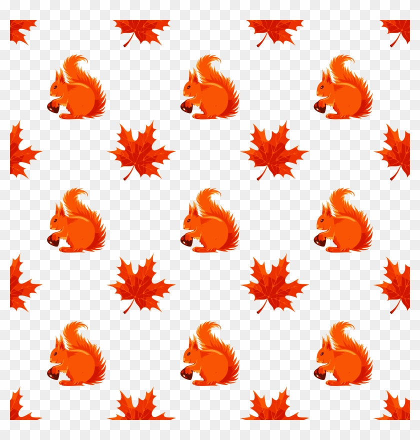 Maple And Squirrel Seamless Pattern - Autumn Icons #580552