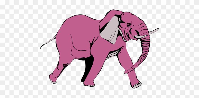 Pink Elephant Walking Vector Illustration Public Domain - Custom African Elephant Shower Curtain #581063