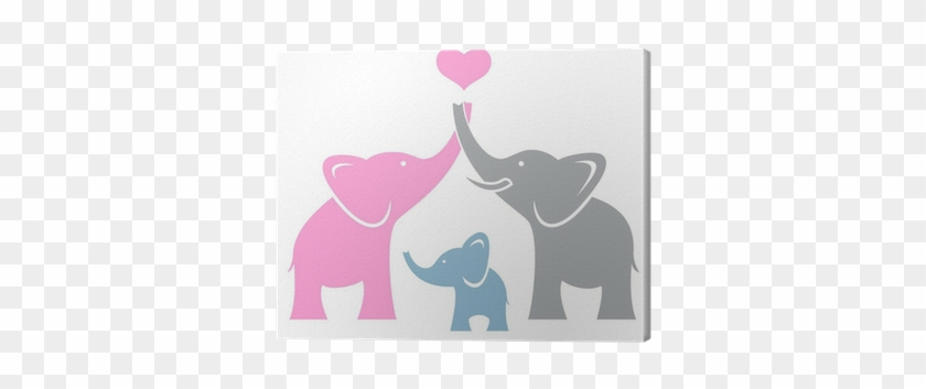 Symbol Or Logo Canvas Print • Pixers® • We Live To - Family Of 3 Elephants #581275