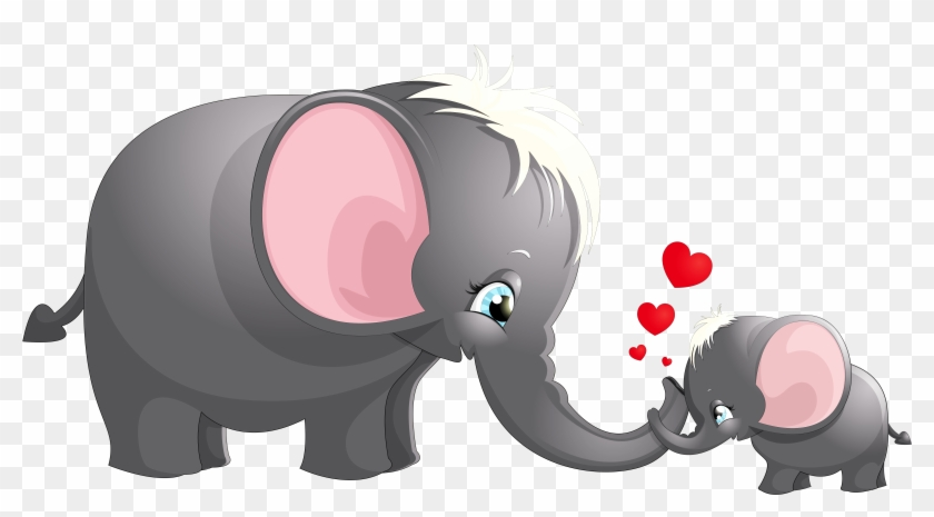 Complete Elephant Cartoon Pictures For Kids Transparent - Mom And Baby Elephant Clip Art #582243