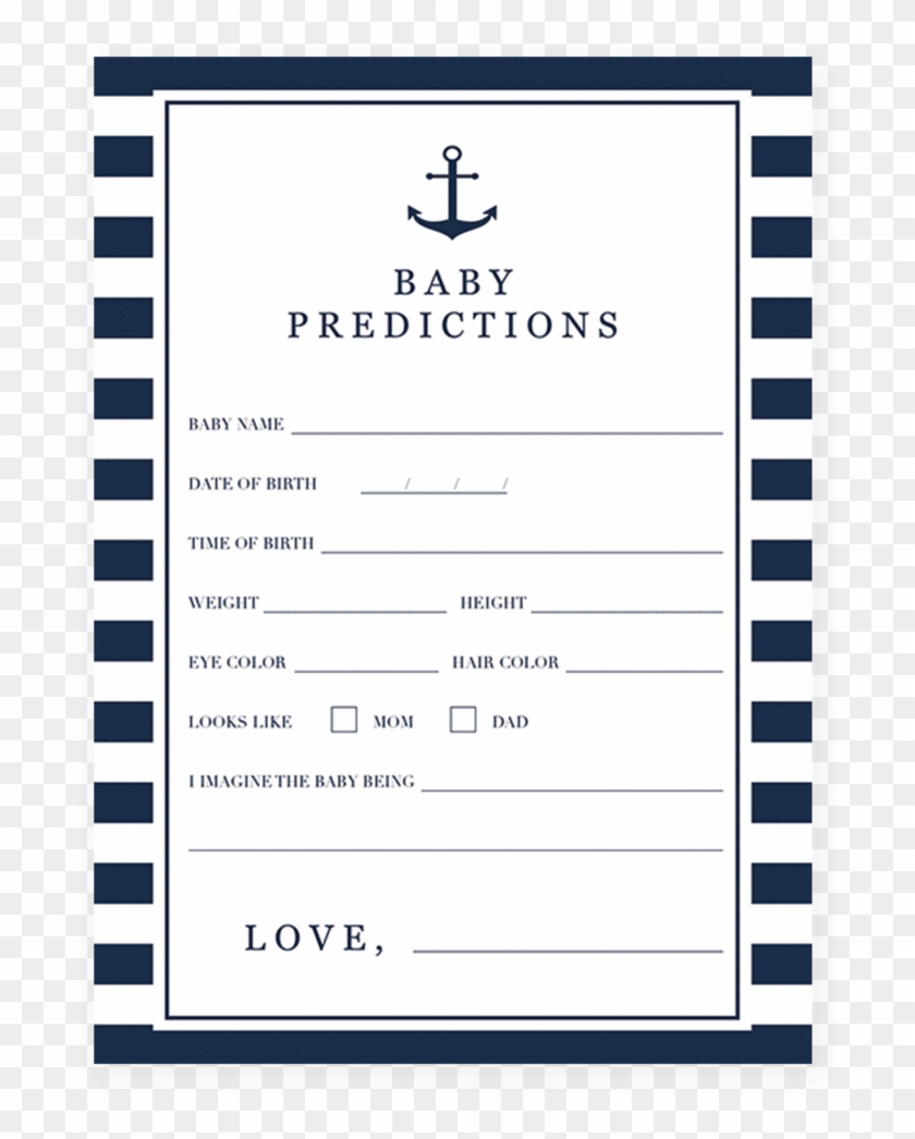 Printable Baby Shower Prediction Card For A Nautical Baby