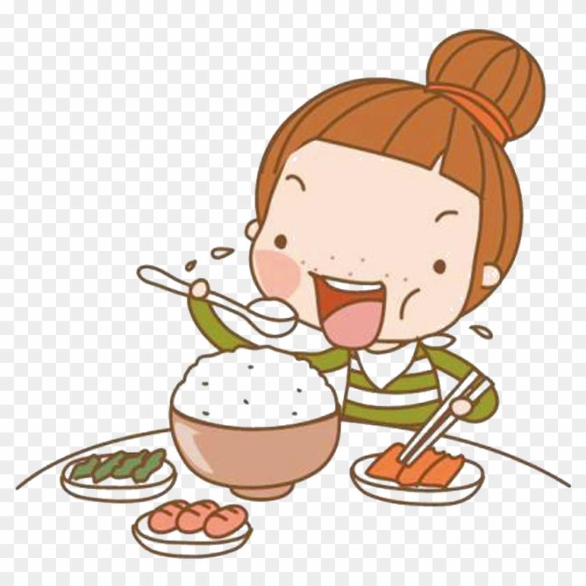 Eating Cartoon Girl - Cute Cartoon Eating #585679