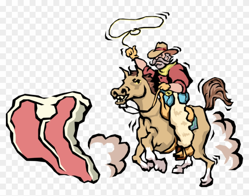 Vector Illustration Of Western Cowboy Rides Horse To - Team Roping #585940