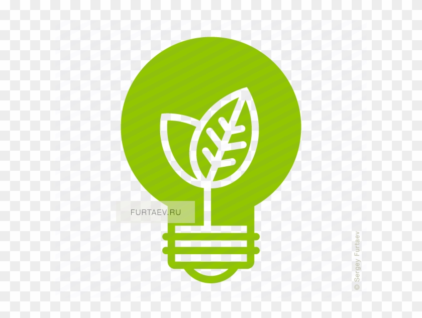 Vector Icon Of Electric Lamp With Young Shoots Growing - Ecology Icon #586022